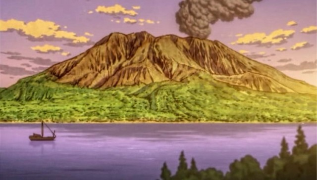 Sakurajima, from episode 5 of Katanagatari